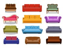 Sofa and couches colorful cartoon illustration vector set. Collection of comfortable lounge for interior design isolated stock illustration