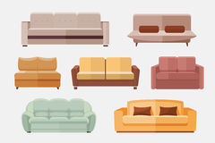 Sofa and couches furniture flat vector icons set Stock Images