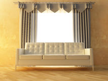 Sofa and curtain Royalty Free Stock Photos