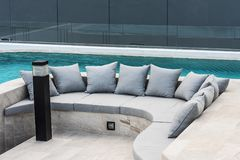 Sofa with cushion. Sofa with cushion at outdoor water garden royalty free stock photography