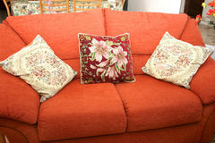Sofa and cushions stock image