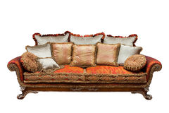Sofa with cushions. Beautiful sofa with cushions on a white background Stock Photography