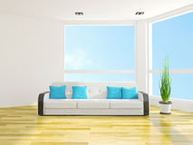 Sofa with cushions. Near the window Stock Images