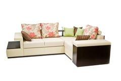 Sofa d'isolement sur le blanc Photographie stock