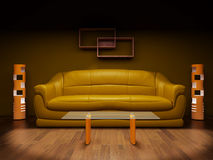Sofa in a dark room Royalty Free Stock Image