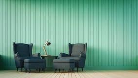 Sofa de marine et mur vert avec les rayures verticales Photographie stock libre de droits
