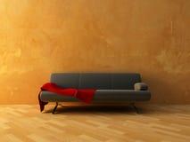 sofa de rouge de tissu Photographie stock libre de droits