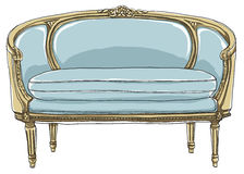 Sofa de vintage peignant à la main schéma ébauche illustration stock