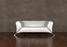 Sofa des weißen Leders Lizenzfreie Stockbilder