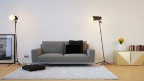 Sofa devant le mur avec la couverture blanche Images libres de droits