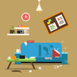 Sofa in dirty organized apartment. Different trashes in room. Flat style vector illustration. Sofa interior at home apartment, dirty room chaos Stock Photos