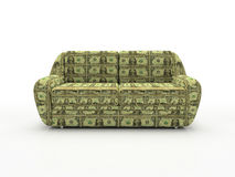 Sofa with dollars isolated on white background. 3D stock photo