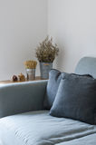 Sofa with dry plant decorated on side table. Modern sofa with dry plant decorated on side table stock image
