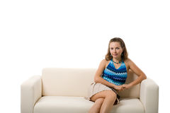 sofa dziewczyny Fotografia Stock