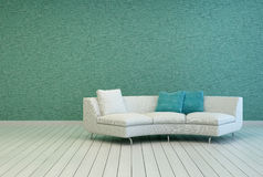 Sofa on Empty Living Room with Gray Green Wall Royalty Free Stock Images