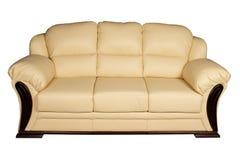 sofa en cuir crème Images libres de droits
