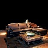 Sofa en cuir de Brown photographie stock libre de droits