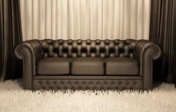 Sofa en cuir de Brown Chester dans l'intérieur de luxe illustration de vecteur
