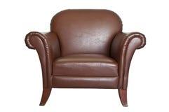 Sofa en cuir de Brown sur le fond blanc. Photo stock