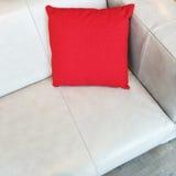 Sofa en cuir gris avec le coussin rouge photographie stock
