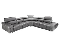 Sofa en cuir noir Photos stock