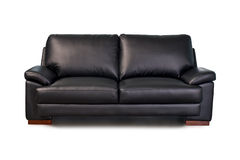 Sofa en cuir noir photographie stock libre de droits