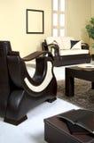 Sofa en cuir noir Images libres de droits