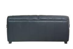 Sofa en cuir noir confortable de trois sièges photographie stock