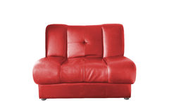 Sofa en cuir rouge Images stock