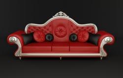 Sofa en cuir rouge avec des coussins Photo stock