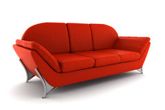Sofa en cuir rouge d'isolement sur le fond blanc Photos libres de droits
