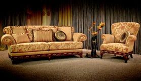Sofa et fauteuil de cru Images libres de droits