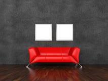 Sofa et illustrations dans un intérieur Photos libres de droits