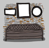Sofa et mur tirés par la main dans la chambre Illustration de Vecteur