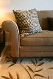 Sofa et oreiller de Brown photographie stock libre de droits
