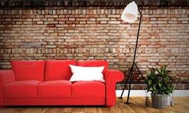 Sofa et oreiller rouges avec le fond de mur de briques de pièce sur le plancher en bois rendu 3d illustration de vecteur