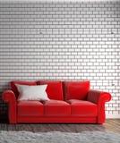 Sofa et oreiller rouges, tapis, plancher en bois sur le mur de briques vide rendu 3d illustration stock
