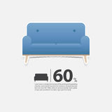 Sofa in flat design for living room interior. Minimal couch icon for furniture sale poster. Blue couch on white background. Stock Image