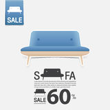 Sofa in flat design for living room interior. Minimal couch icon for furniture sale poster. Blue couch on white background. Sofa in flat design for living room Stock Image