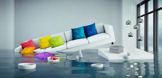 Free Sofa Floating In A Flooded Room Royalty Free Stock Image - 153980196