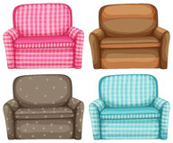 Sofa in four design and colors Stock Image