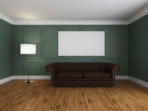 Sofa and frame in the room 3d rendering Stock Photography