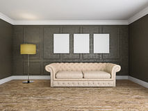 Sofa and frame in the room 3d rendering Royalty Free Stock Image