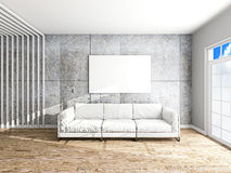 Sofa and frame in the room 3d rendering Stock Image