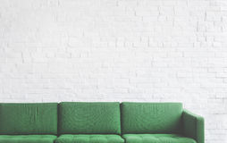 Sofa Furniture Modern Interior Living Room Concept. Green Sofa Furniture Modern Interior Living Room Royalty Free Stock Photo