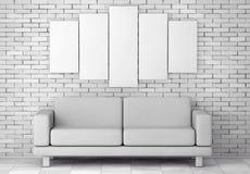 Sofa Furniture moderno simple blanco debajo del cartel blanco en blanco 3d Fotografía de archivo libre de regalías