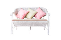 Sofa furniture weave bamboo chair and pillow on white Stock Photo