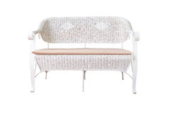Sofa furniture weave bamboo chair on white Royalty Free Stock Image