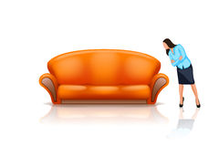 Sofa6 with girl Royalty Free Stock Image