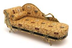 Sofa gold. Golden sofa isolate on white Stock Photo